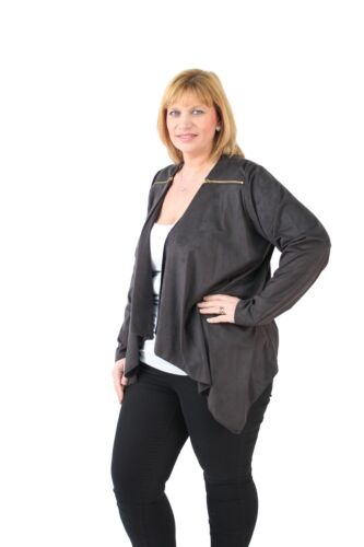 Ladies Plus Size Long Sleeve Suede Effect Lightweight Waterfall Jacket Cover Up