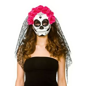 Day of the Dead Mask /& Veil Fancy Dress Ladies Halloween Skeleton Womens Costume