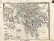 Carta geografica antica GRECIA MARE EGEO Atene Greece 1866 Old antique map
