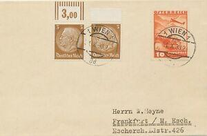 OSTERREICH-OSTMARK-1938-Flugzeug-10g-LETZTAG-sowie-Dt-Reich-Hindenburg-3Pf-2x