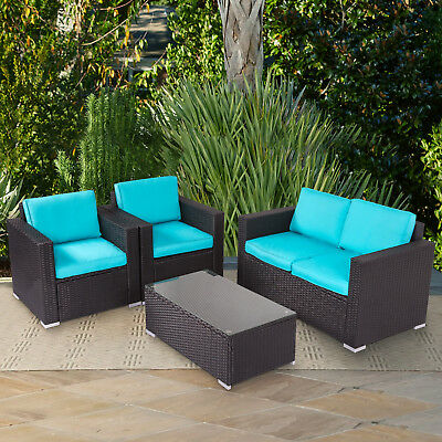 Swell 4Pcs Rattan Garden Furniture Patio Sofa And Table Set All Weather W Cushions 7212729211862 Ebay Andrewgaddart Wooden Chair Designs For Living Room Andrewgaddartcom