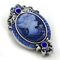 Royal Blue Cameo Brooch Pin Charm Antique Silvertone Fashion Jewelry For Women