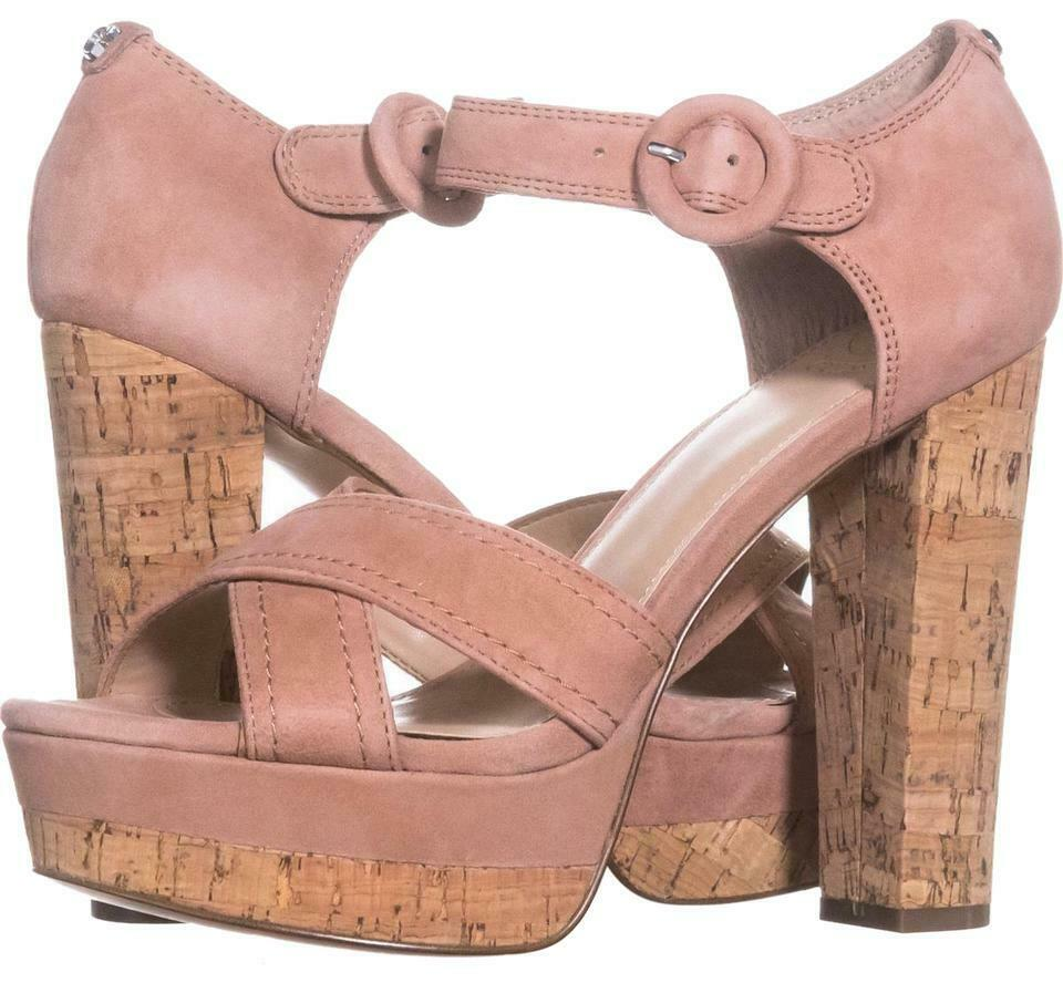 Guess Parris Womens Suede Platform Sandal - New with Defect (Medium Pink, 8)