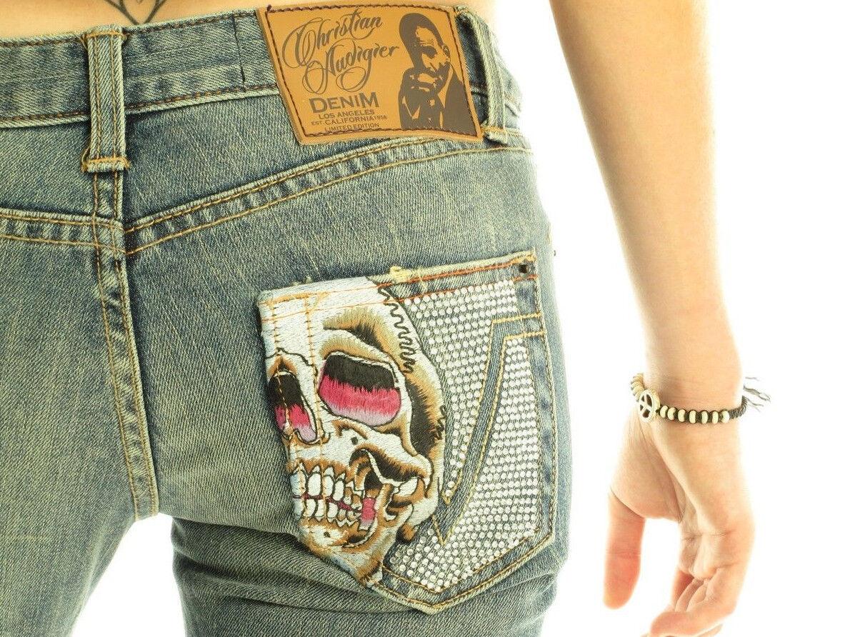 CHRISTIAN AUDIGIER Hearst Luxury Designer Woherren Decorative Stiefelcut Skull Jeans