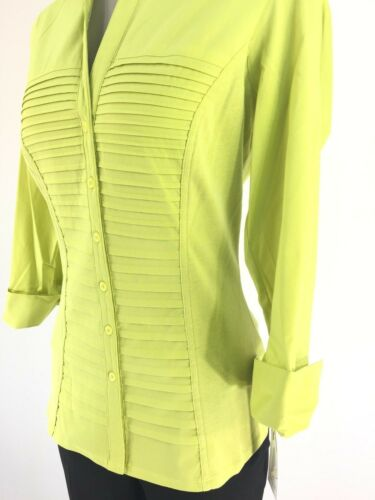 Zac /& Rachel New WT LIMEADE Mixed Media Pleated Button Front Shirt size S M L XL