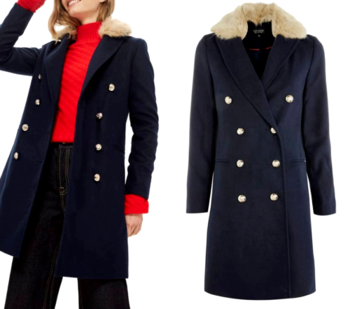 Topshop Navy Classic Collar Pea Pea Pea Double Boyfriend Slim City Trench Coat UK 6 - 12 | Trendy