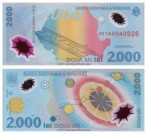 ROMANIA 2000 2,000 LEI P111 1999 COMMEMORATIVE 1st EUROPE POLYMER NOTE FOLDER