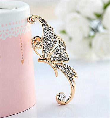 Retro Women Rhinestone Butterfly Ear Cuff Clip Crystal Cartilage Earring Jewelry
