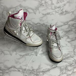 Details about Nike Air Jordan Flight Womens 8 Youth 6.5 White and Pink Hi Top Athletic Shoes
