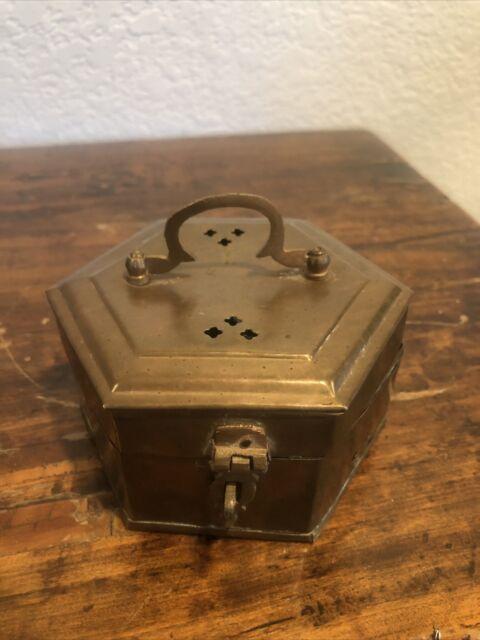 Antique VTG Copper Brass Locking Box Jewelry Trinket Octagon