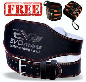 EVO-6-034-4-034-Pure-Leather-Gym-Belts-Weightlifting-Back-Support-Strap-Bodybuilding-W