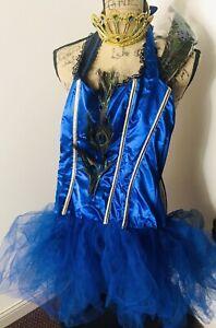 Dreamgirl Sexy Royal Peacock Blue Tutu Dress Costume Adult Medium Tiara Feathers