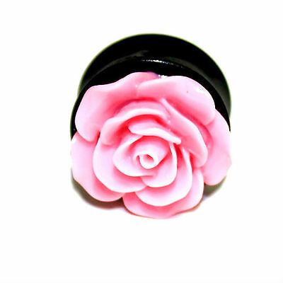 PAIR-Pink Acrylic Rose Ear Gauges- Acrylic Ear Gauges-Ear Plugs-Flesh Tunnel