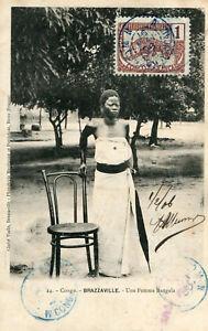 Carte-CONGO-BRAZZAVILLE-Une-Femme-Bangala-Timbre-et-cachets