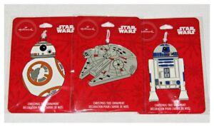 Hallmark-Star-Wars-Flat-Metal-Ornaments-Set-of-3-BB8-Millenium-Falcon-R2-D2-NEW