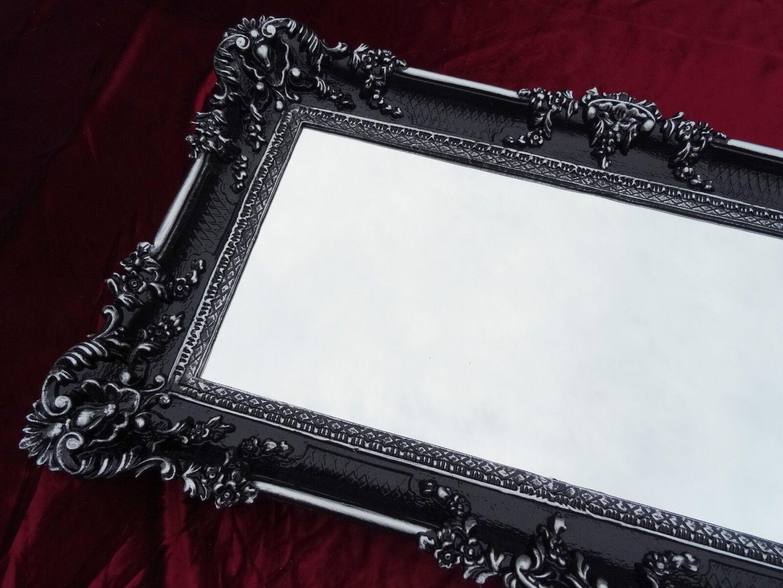 Wall mirror rectangular black silver dual baroque for Rectangular baroque mirror