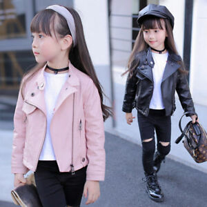 f1cb4a6ebb20 Kids Girls Fashion Biker Motorcycle PU Leather Jacket Coat Outwear ...