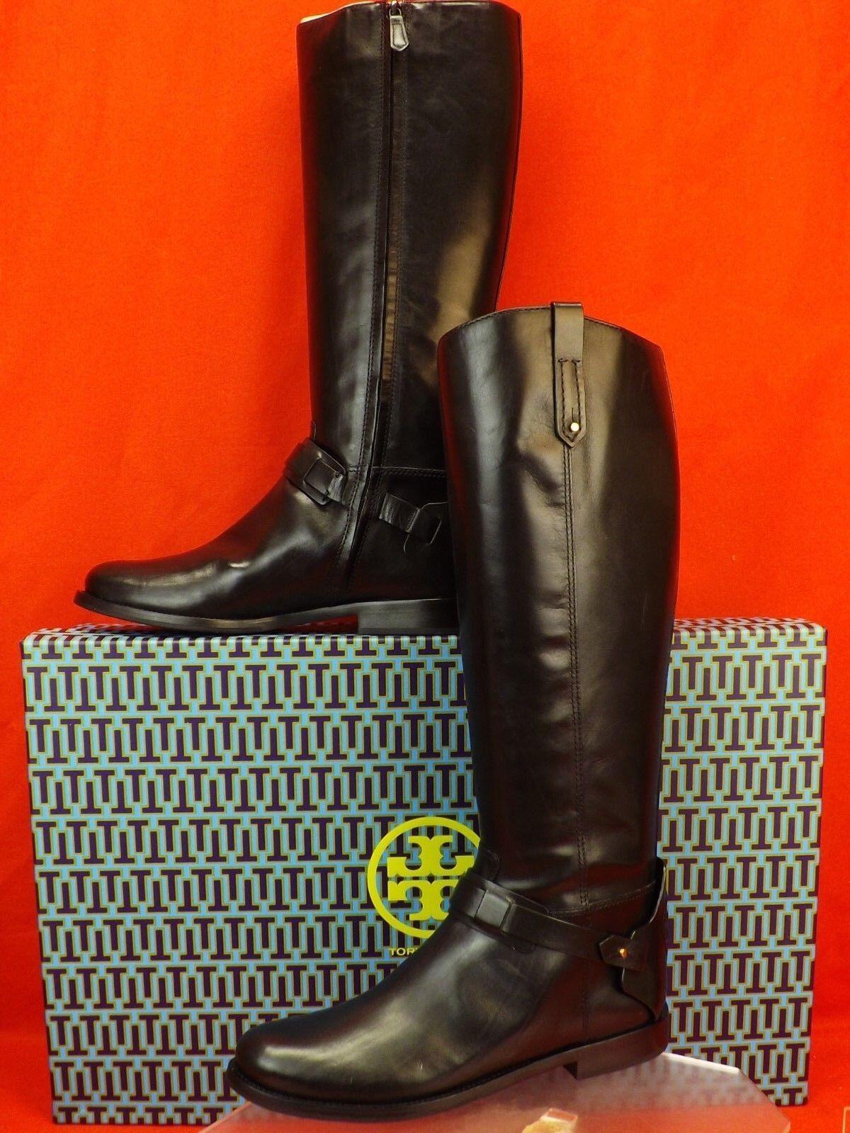 New in Box Tory Burch Colton Noir GALION cuir REVA Tall Riding Zip Bottes 7