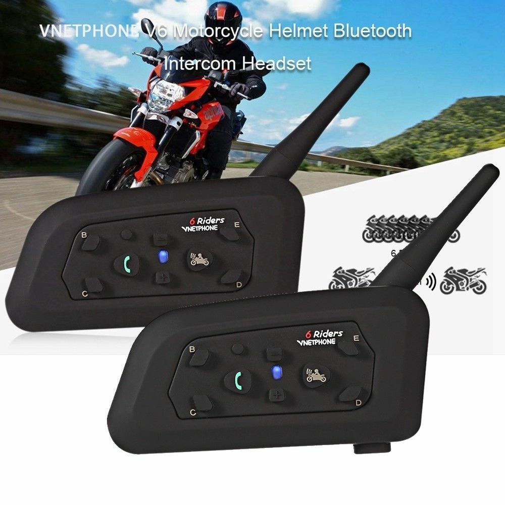 2pcs V6 Motorcycle BT Helmet Headset Interphone Wireless 6 Riders1200M Hot