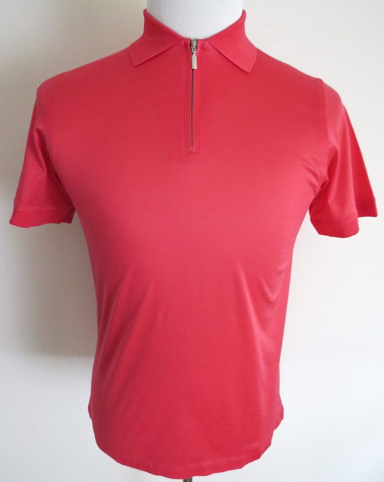595 BRIONI Slim Fit Brushed Cotton Coral Farbe 1/2 Zip T-Shirt Shirt Größe Small
