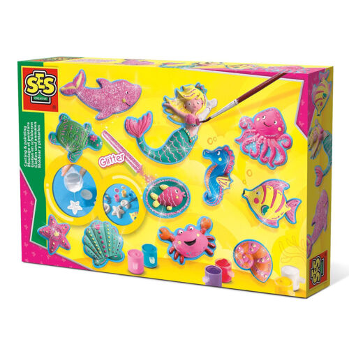 SES Creative 01354 Bastel-Set Kreativ-Packung Gips OZEAN MEER gießen und malen