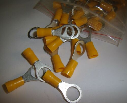 """20 Wire Ring Terminals Vinyl Yellow 12-10 Gauge 3//8/"""" Power Ground Car Electronic"""