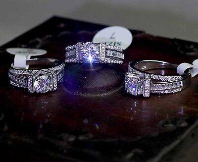 Eiffel Tower Design White Topaz 925 Silver Engagement Wedding Ring Sz 5-11 Gift