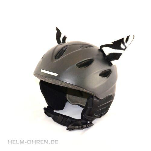 Helmohren Öhrchen Ohren Deko f Helm// Skihelm// Snowboardhelm// Kinderhelm Zebra