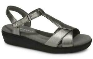 Grasshoppers-Clover-Wedge-Sandals-Pewter-Silver-Women-039-s-Casual-Comfort-Shoes