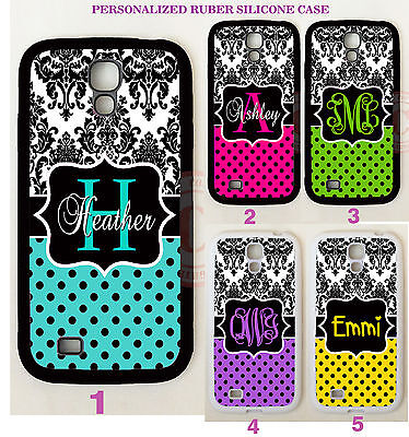 DAMASK PURPLE TEAL POLKA DOTS MONOGRAM Case For Samsung Galaxy S7 S6 S5 NOTE 5 4