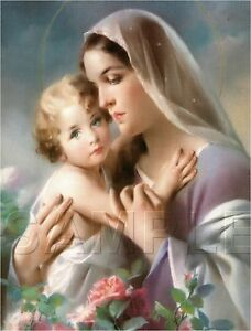 vintage religious print virgin mary baby jesus roses madonna canvas