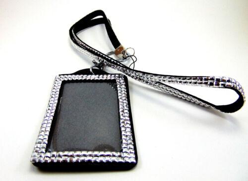 Silver BLACK BLING Lanyard Detachable Key ID Badge Holder Keychain Work Event