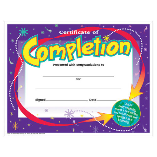 Certificate Of Completion 30//Pk