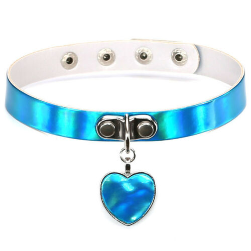 Holographic Choker Necklace Laser Heart Love Rainbow Gothic Collar Women Girl UK