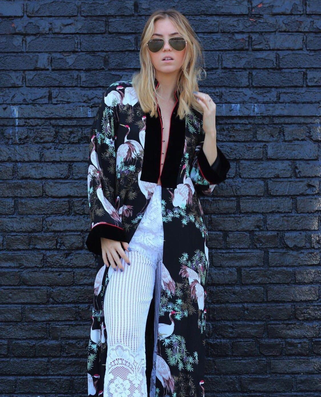 Nwt Zara AW17 Blaumen Vogel Druck samt Kimono Mantel Kleid 2731 243 _ Xs S M
