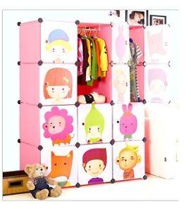Tri- Plastic Wardrobe Cupboard Almirah Kids-Glx- Lkl-66