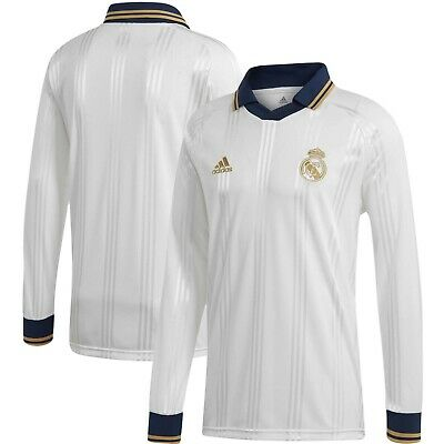 premium selection 82b3f 04c63 adidas Real Madrid 2019 Long Sleeve Retro Soccer Jersey Brand New White |  eBay