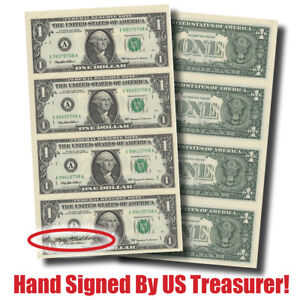 Hand-Signed-Crisp-4-Note-Sheet-1-Bills-by-Treasurer-Mary-Ellen-Withrow-10139