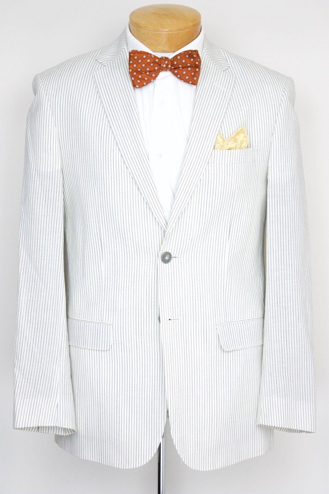 Neu Jos A Ufer Creme Stift Streifen Enge Passform Suit 41r 36w Wool