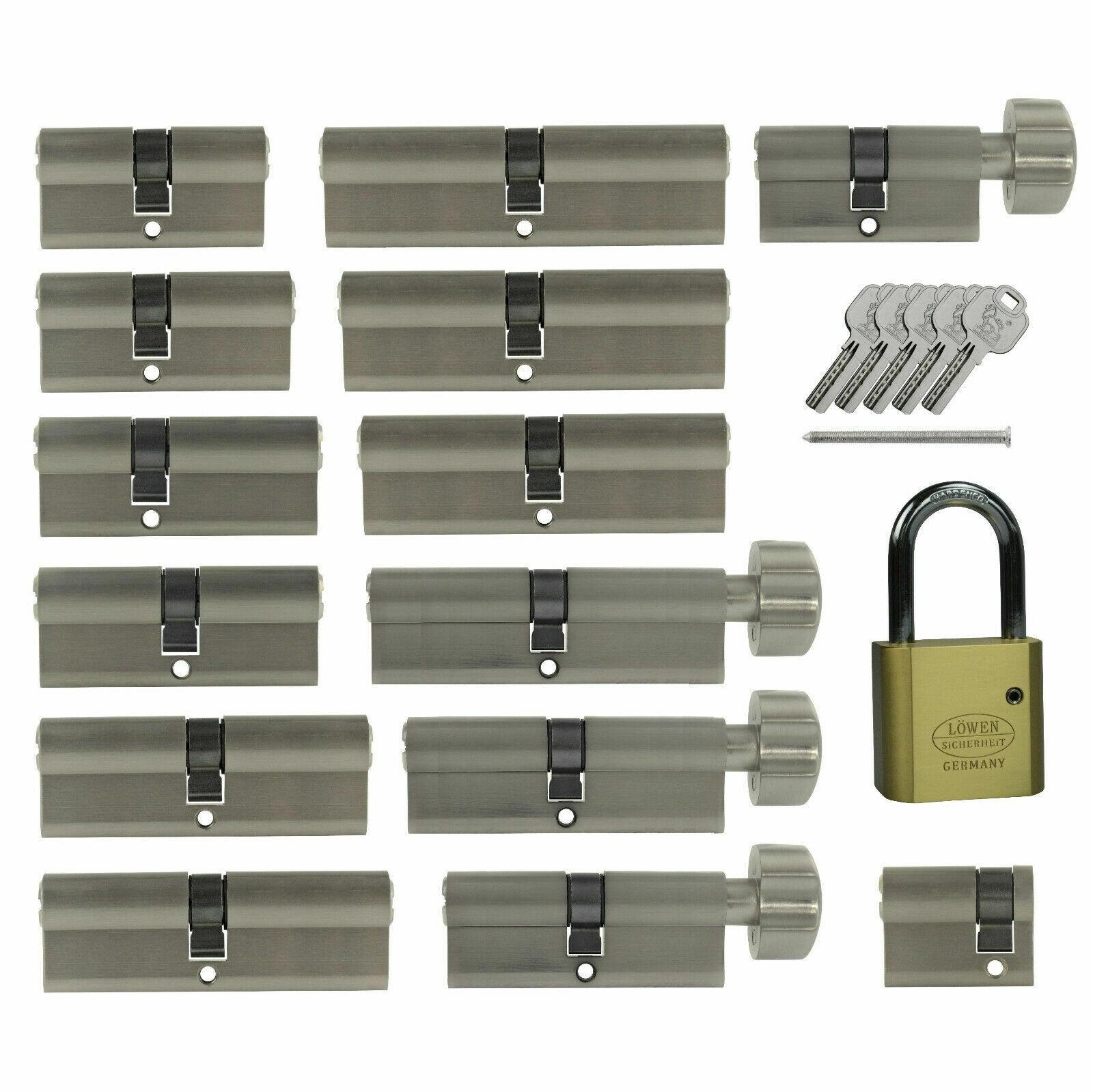 1-10x knaufzylinder 60mm 30//30 puerta cerradura de cilindro gleichschliessend