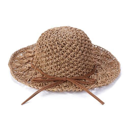 Girls Handmade Sun Hat Kids Summer Straw Hat Wide Brim Princess Beach Cap