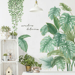Tropical-Plants-Leaves-Small-Fresh-Home-Door-Decoration-Wall-Stickers-Wallpaper