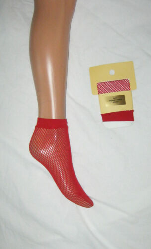 Cute retro vintage style 2 pairs red fishnet ankle socks