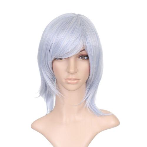 Argent Bleu clair Court Épaule Longueur Anime Cosplay Costume perruque