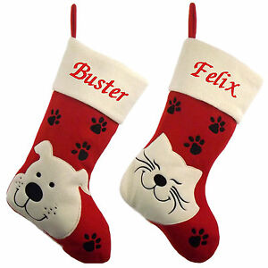 Luxury Christmas Stockings Uk.Details About Luxury Deluxe Personalised Embroidered Christmas Stocking Pet Cat Dog