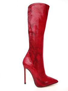 GIOHEL-KNEE-HIGH-HEELS-BOOTS-STIEFEL-STIVALI-POINTY-PYTHON-STRETCH-RED-ROSSO-36