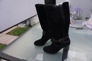 Details zu schicke TAMARIS Damen Stiefel Schuhe Absatz Gr.36 schwarz wildleder Leder TOP