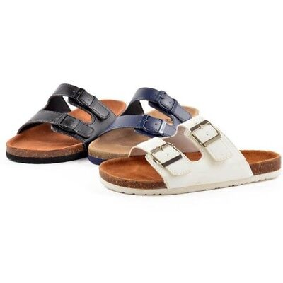 Womens Bio Slip On Summer Mules Buckle Sandals Sliders Metallic Platinum Gold