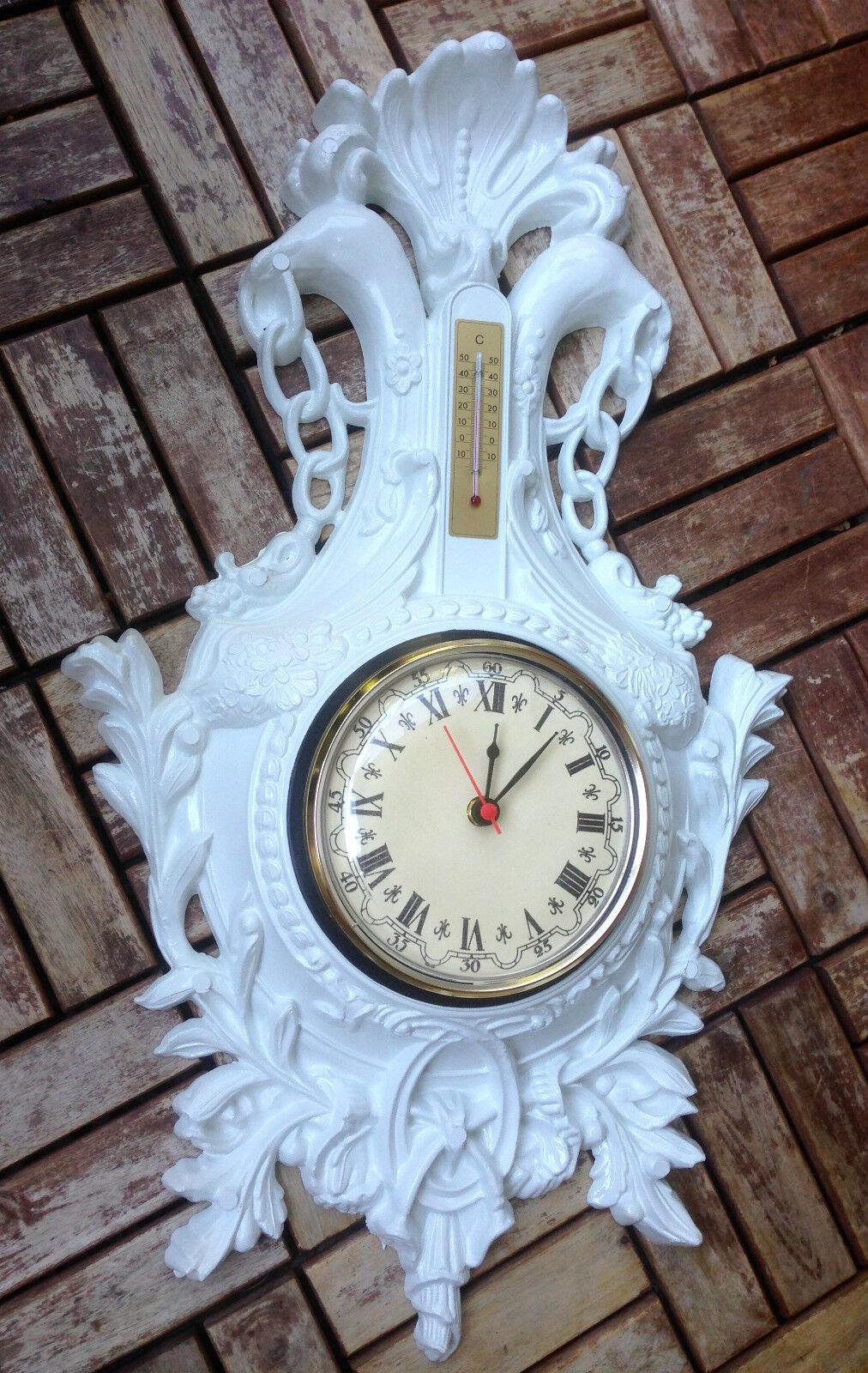 Horloge Murale Barockuhr Ancien avec Thermomètre blanco 38x65 Jeunes Encore Aigle