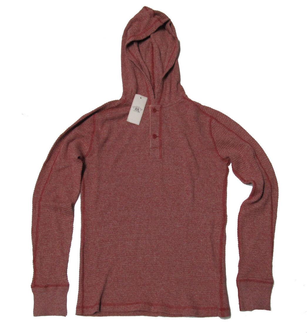 Double Ralph Lauren RRL Mens Red Thermal Hooded Slim Long Sleeve Shirt Sweater